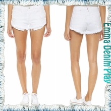 Soild White Sexy Girl's Raw Hem Washed Jean Shorts
