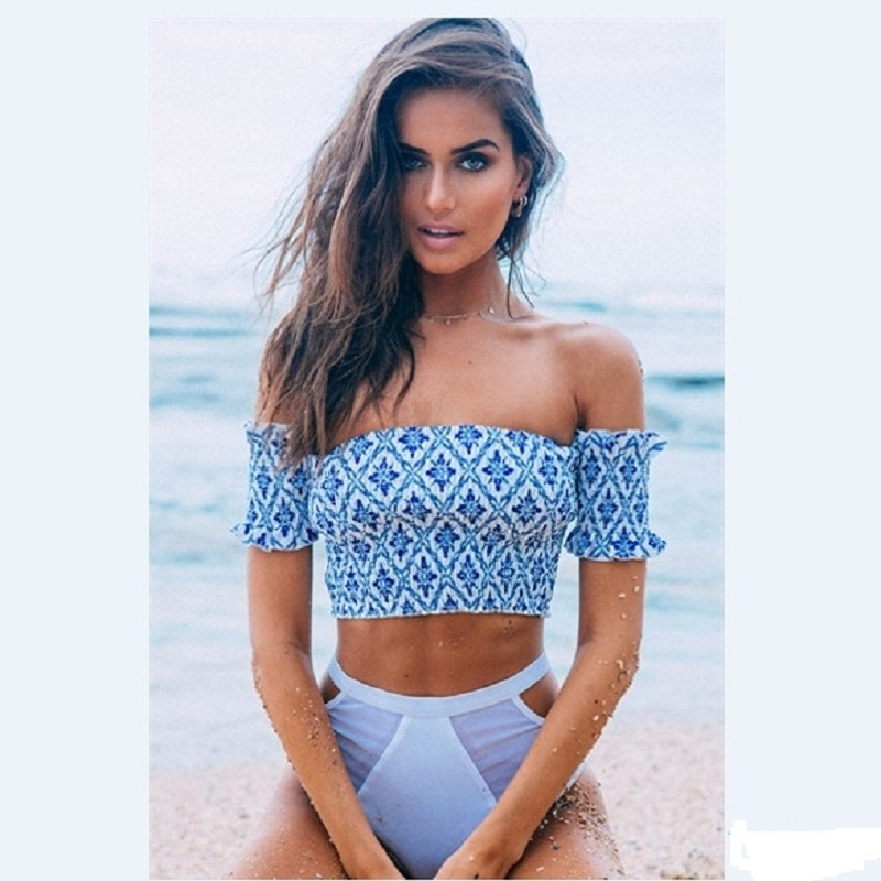 2015 Summer Style New Stylish Ladies Women Slim Sexy Off Shoulder Short Sleeve Print Elastic Crop Tops