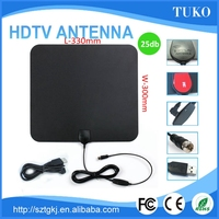 25DB HDTV/ATSC/DVB-T super thin flat hdtv antenna indoor satellite antenna dish/tv receiver