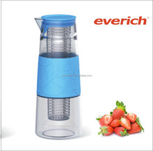 hot glass water pot with silicone wristband , PP cover and infuser in china