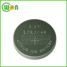 3.6v li-ion button cell LIR3048 rechargeable battery LIR3048 button cells bulk tray package