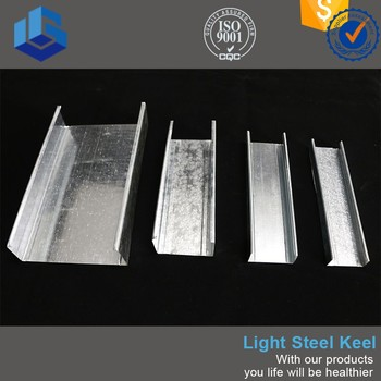 Decorative metal studs of galvanized light steel keel and metal runner track