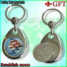 2013 newest style metal coin holder key chain with logo