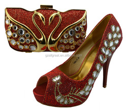 New coming italian designer shoes and bags red color /italian matching shoes and bags