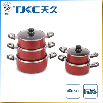 Non-stick Sauce Pot with Glass Lid and Red Color Body