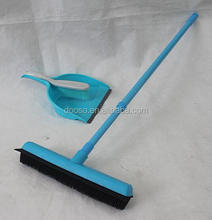 Telescopic Rod Adjustable Rubber Broom &Rubber Bush Set -Rubber Bristles with with Built-in Squeegee Edge