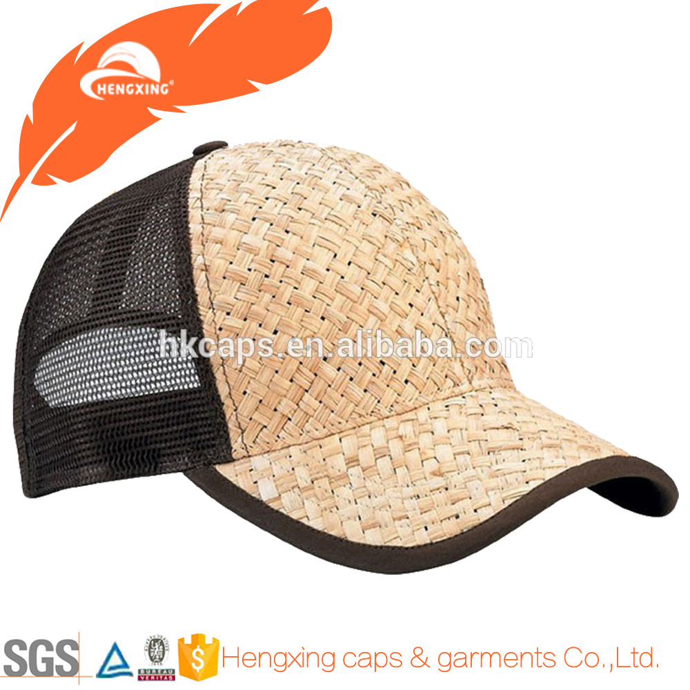 Straw Weave Trucker Snapback Cap Adjustable Baseball Hat