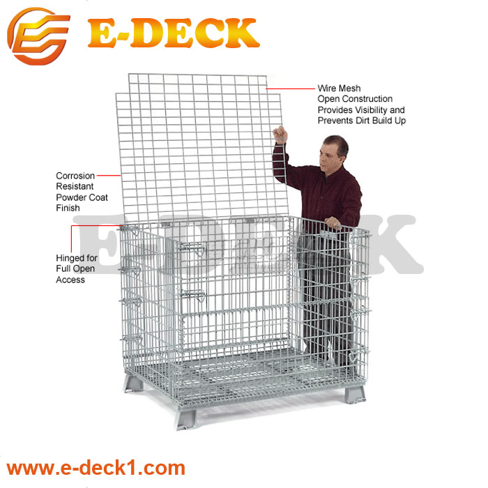 Zinc plated stackable storage steel wire mesh container
