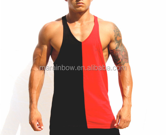 Cheap Wholesale Mens 100% cotton plain stringer tank top gym singlets two tone gym vest fitness tank bodybuilding Stringers