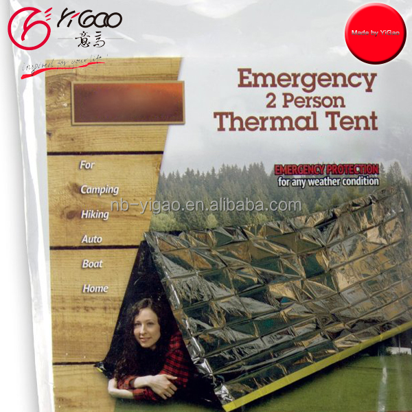 Emergency Survival Mylar Thermal Reflective Cold Weather Shelter Tube Tent - Accommodates 2 Adults - 8' X 3'