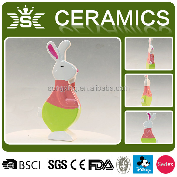 cute pink rabbit ceramic animal coin bank for kids