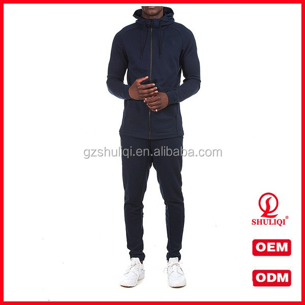 Slim fitness cheap casual tracksuits for men plain 100 cotton high collar hoodie and jersey pants