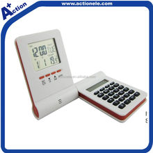 Digital alarm clock with 8 digit calculator