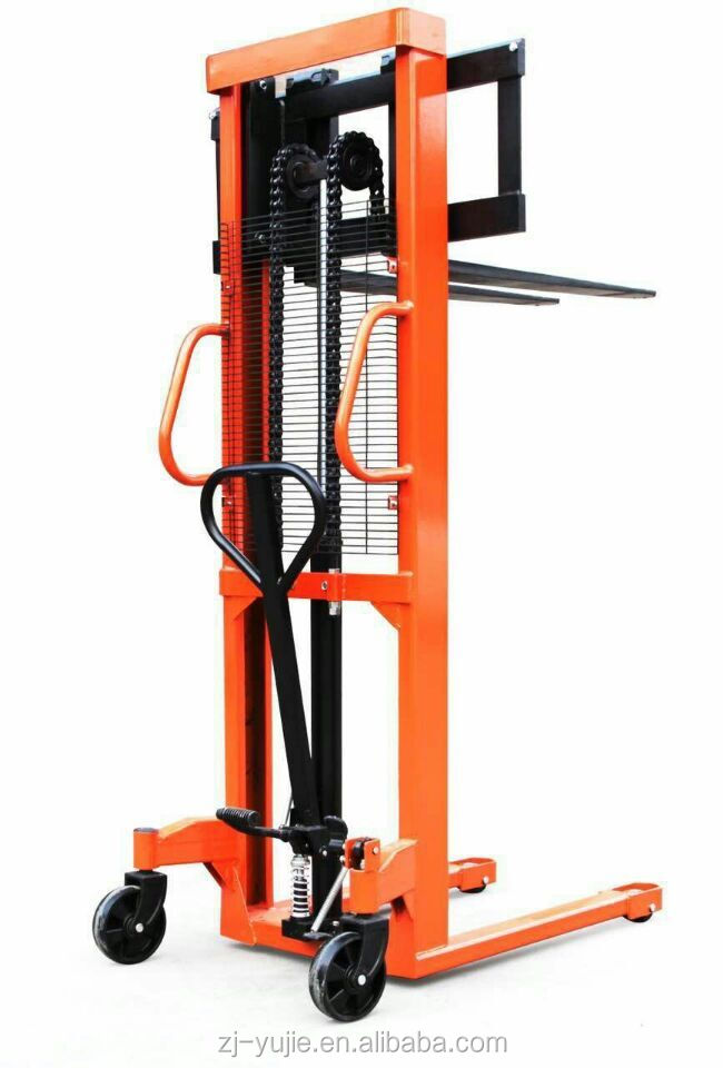 High Quality 2 ton manual hydraulic pallet forklift stacker with foot pedal