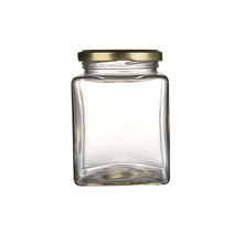 380ml Square hermetic food heat-resistant glass jar with metal lid