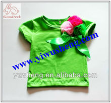 fashion lime green girl's tops new summer wear short sleeve t-shirts baby tops