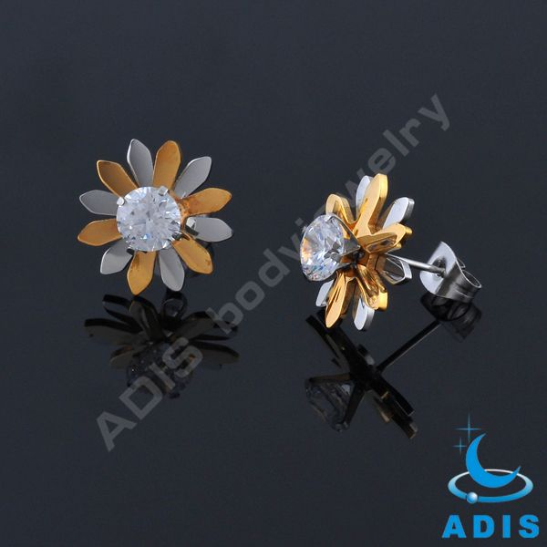 Spring summer 2017 butterfly gold plated hoop ear piercing studs