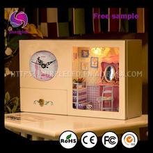 Shenghui DIY Led House Clock+Music Box+Storage Box