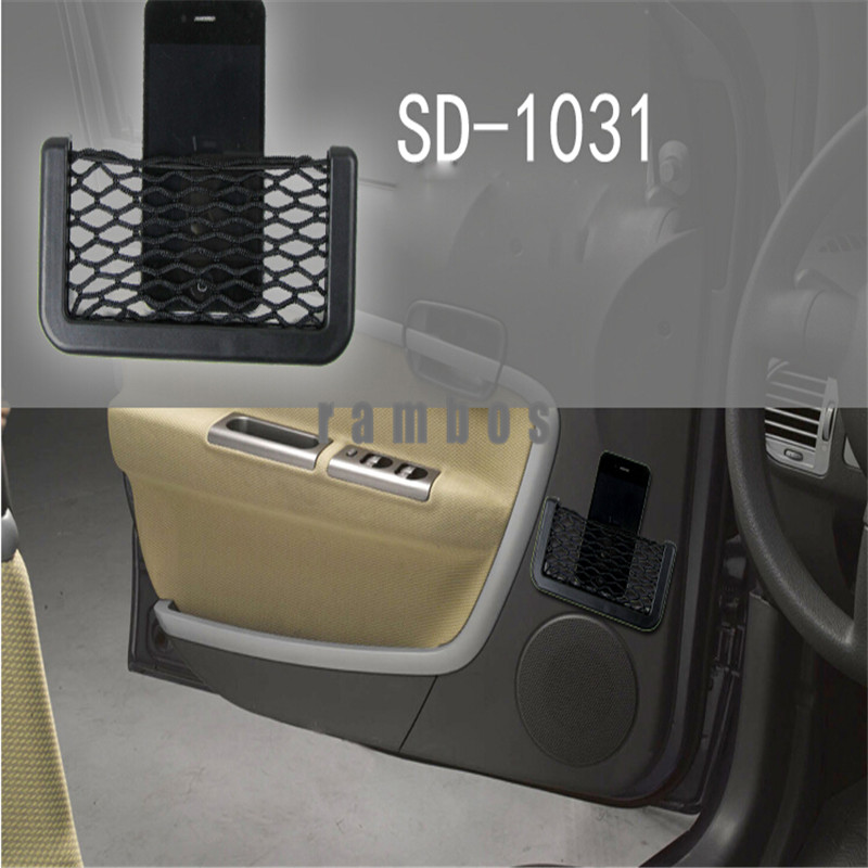 Car Side Hanging Mesh Pocket Multifunctional Organizer Storage Vehicle Net String Bag Phone Holder Ticket Pocket for Cell Phone