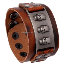 PK0012 kull Alloy Connectors Italian Leather Bracelet For Men wide leather cuffs