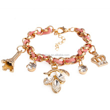 Fashion gold chain bracelet with color band , lovely eiffel charms flower charms bracelet