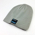 custom acrylic reversible blue tooth beanie hat with woven label for women