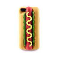 New 3D sponge bread hamburger Hotdog soft silicone case Cover shell skin For Apple iphone 4 4g 4s/5 5g 5s 6 6s plus