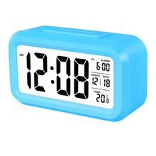 Digital sensor touch alarm clock with low soft night light for kids