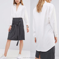 Ladies long sleeve zip front white blouse fashion design plus size white shirts for women apparel