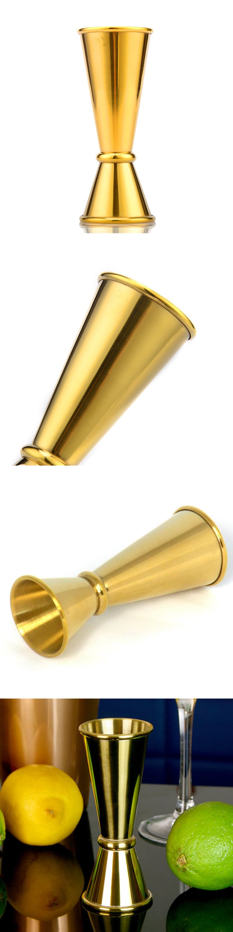 High quality stainless steel golden 1-2oz double jigger
