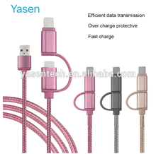 2 In 1 USB Cable 1M Braided Fast Charge & data Cable Mobile Phone USB Charger Cable For ios and android