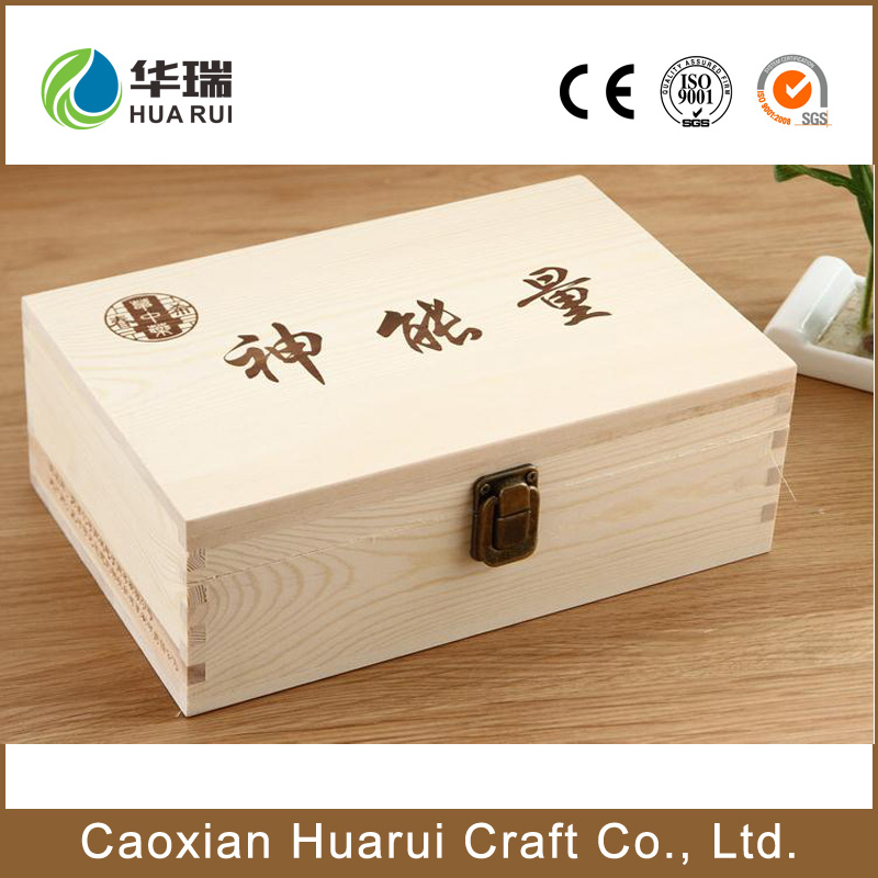 High quality decorative wooden recipe box with hinged lid