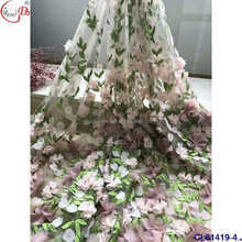 Newest 3d flower bridal lace CL61419-4 French tulle fabric Italian 3d lace fabric
