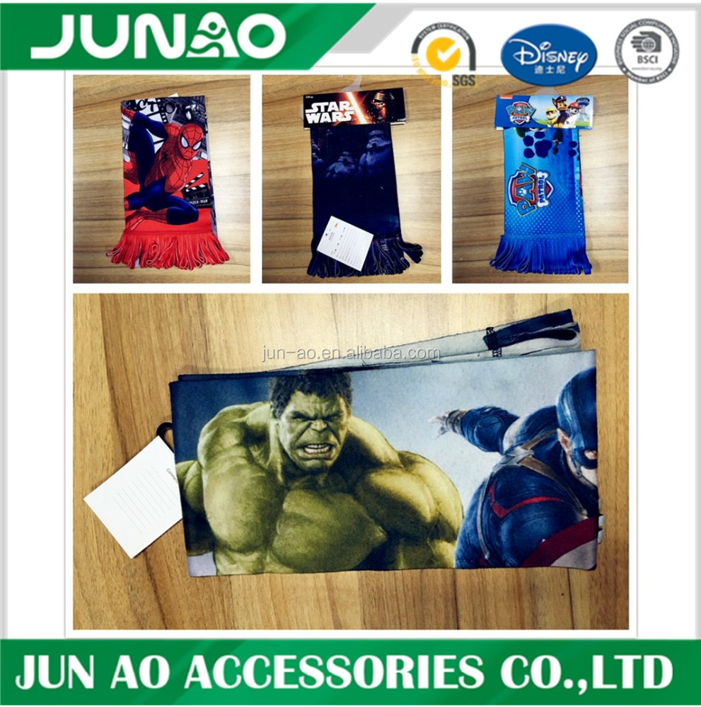 wholesale customized fleece marvel comics characters print scarf/fringle superhero captain america