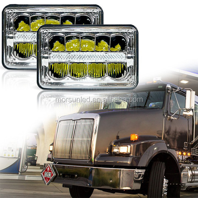 "Morsun 4''x6'' 4x6"" Square LED Dual Beam Headlight w/ Parking Light For Ford Chevy Freightliner FLD 120 Peterbilt Kenworth truck"