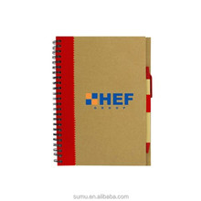 brown recycled paper cover with company logo pen include notebook custom printing