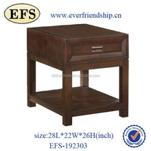 European style solid wood square french provincial end table with drawer