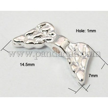 Silver Plated Alloy Angel Wing Beads about 14.5mm wide, 7mm long, 3mm thick, Hole: 1mm (ZX-AB5004Y-NF-S