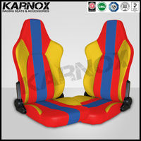 Karnox red blue and red fabric bus seat