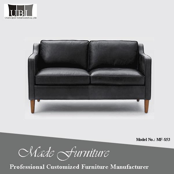 2 seater black leather sofa_Yuanwenjun.com