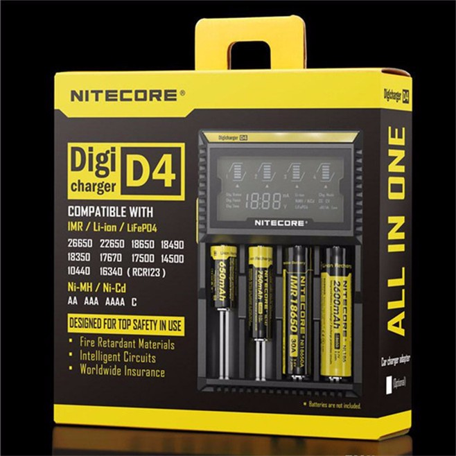 Nitecore d4 charger for 18650 batteries 18650 battery charger for lg 18650 battery/ sanyo 18650 battery /samsung 18650 battery