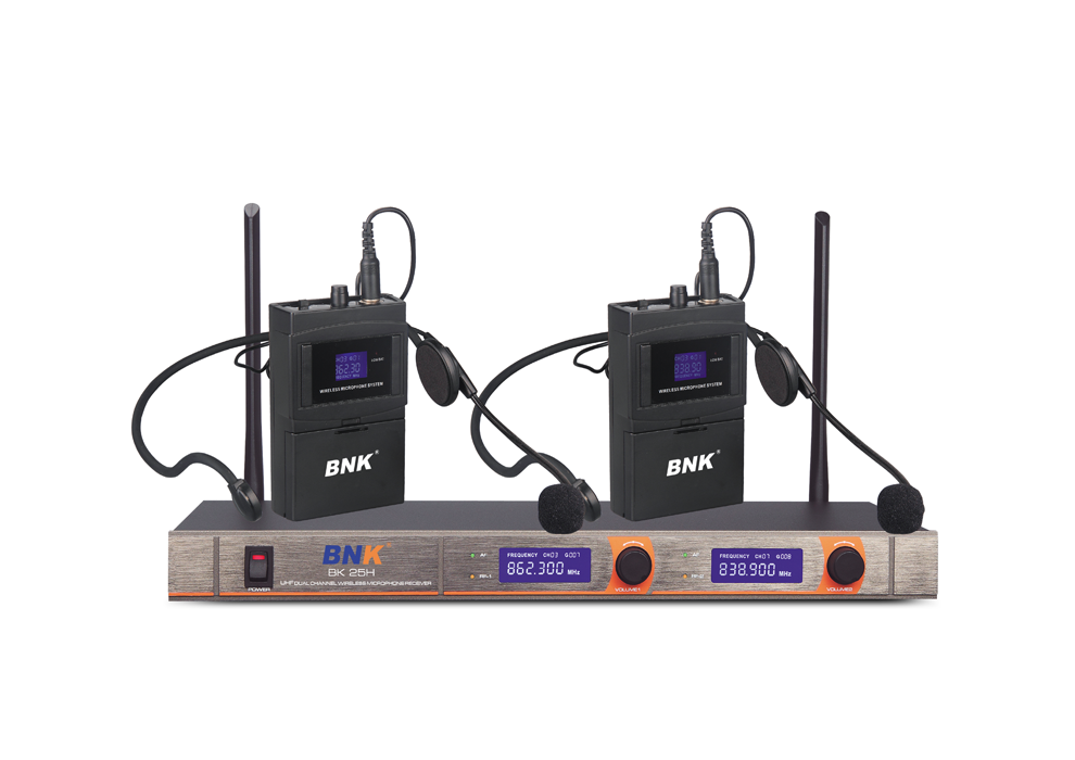 Economical VHF 2 channel wireless headset microphone system BK25H