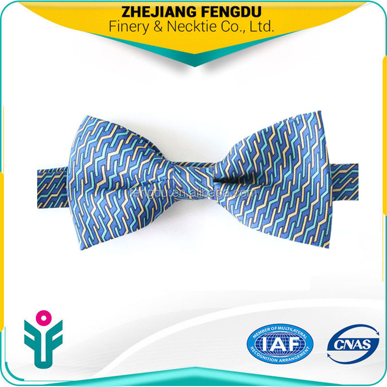 fahsion printed yellow and blue bow tie