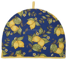 cotton machine washable Lemon Printed Tea Cosy fabric with quilted padding