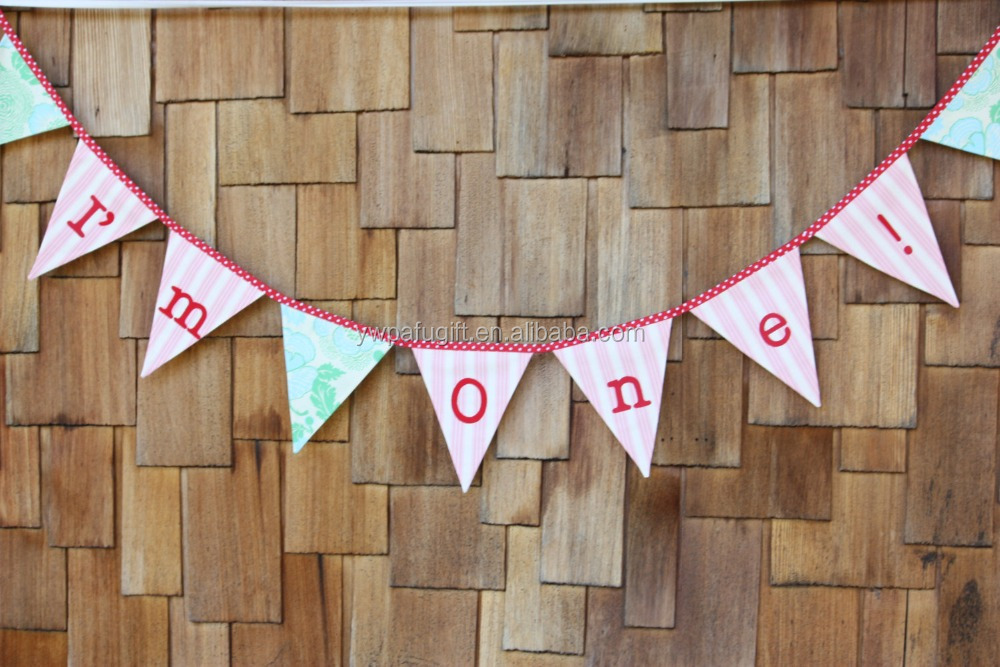 I'm one tripe bunting banner 1st birthday flags banner