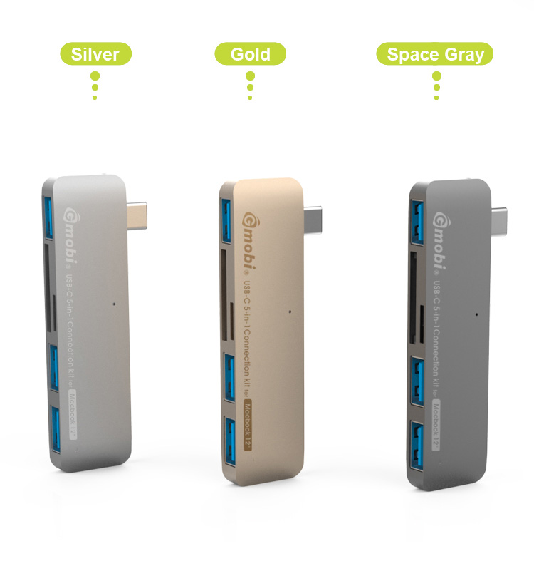 Max Speed Up to 5GB/s 5-in-1 Connection Kit USB 3.1 HUB