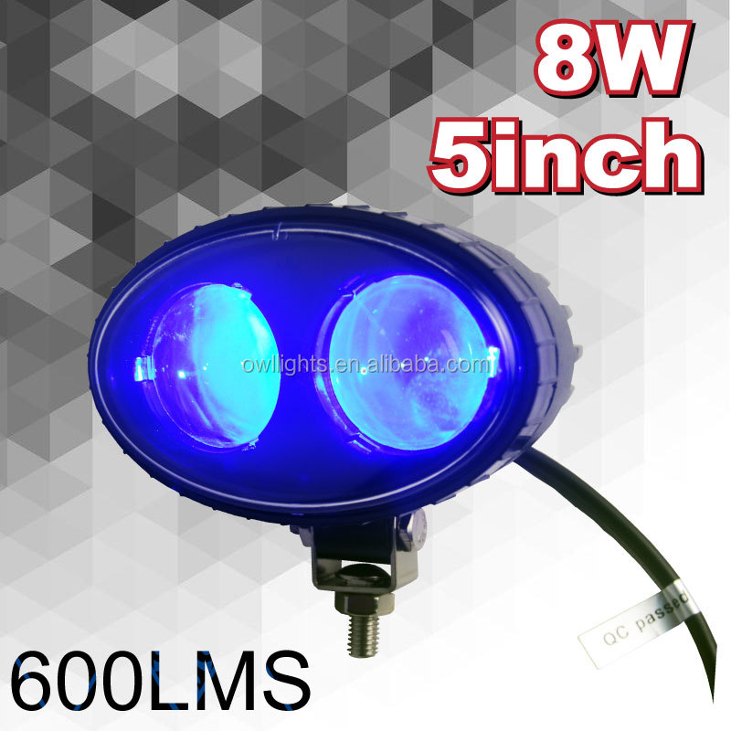 12V 24V Blue Signal Lamp, 8w Off Road LED Work Light Blue, 12v 24v Blue Light Forklift LED Working Light