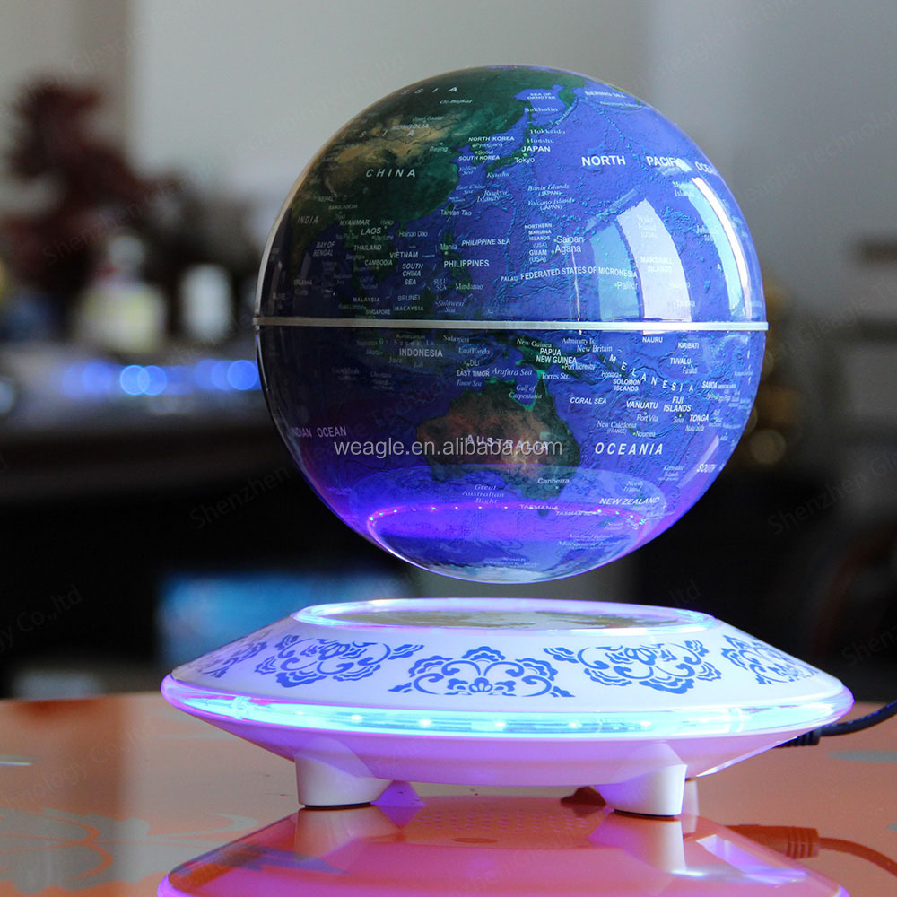 Popular UFO base magnetic levitation 6 inch globe picture of the globe