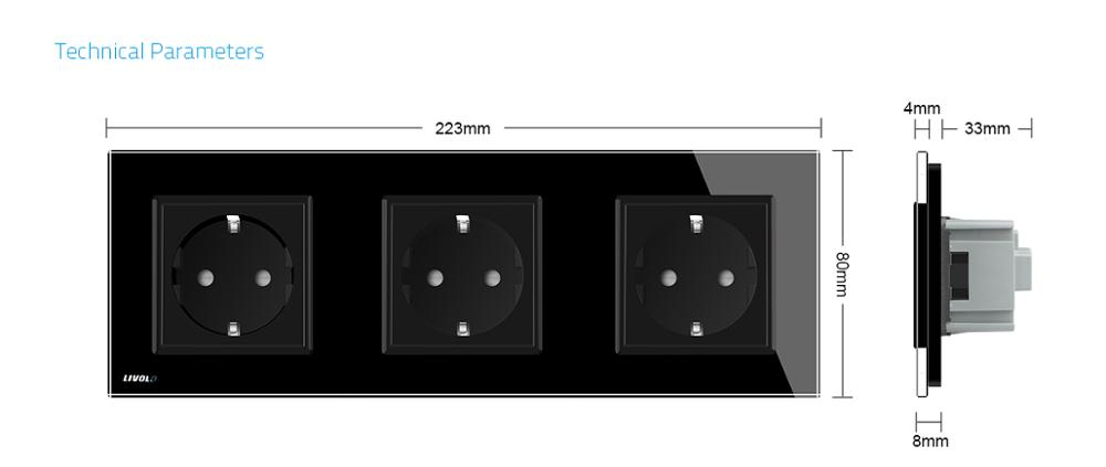 Livolo EU Standard Socket, Black Crystal Toughened Glass Outlet Panel, Multi-function Triple Wall Power Sockets Without Plug