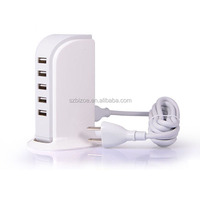 USB Charging Station Hub, 5 Port USB Wall Charger Power Adapter, Portable Travel Charger Plug for iPhone iPad Samsung Blackberry